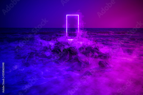 Strange fluorescent light layout with glowing neon frame,door and smoke on vibrant sea background Canvas Print