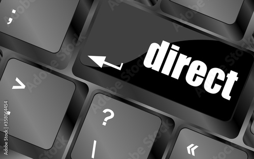Tela direct - educational concept. Button on Modern Computer Keyboard