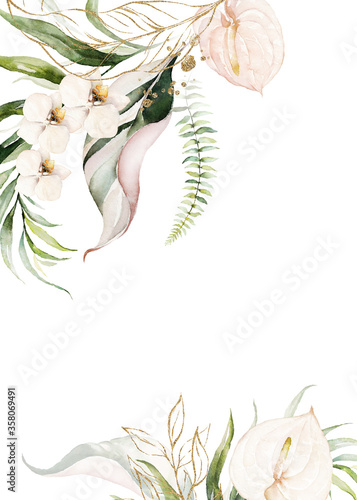 Watercolor tropical floral border - green, gold, blush leaves & flowers Slika na platnu