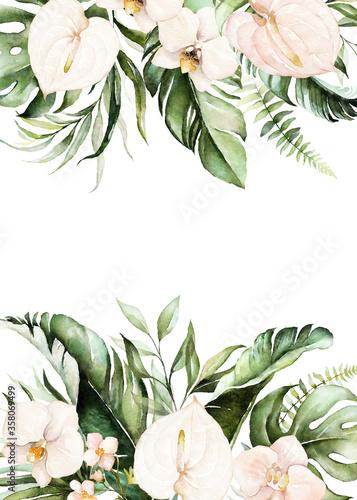 Valokuvatapetti Watercolor tropical floral border - green, blush leaves & flowers