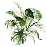 Watercolor tropical floral bouquet - green & blush leaves. For wedding stationary, greetings, wallpapers, fashion, background. - 358070067