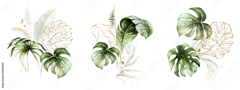 Fototapeta Watercolor tropical floral bouquet set - green, blush & gold leaves. For wedding stationary, greetings, wallpapers, fashion, background.