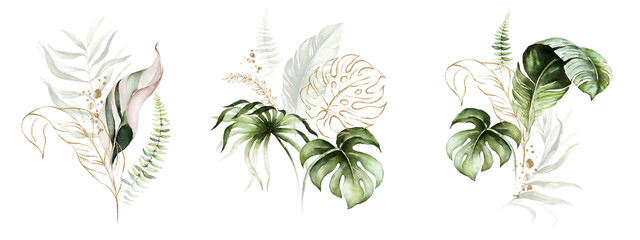 Watercolor tropical floral bouquet set - green, blush & gold leaves. For wedding stationary, greetings, wallpapers, fashion, background.