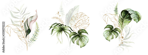 Obraz Watercolor tropical floral bouquet set - green, blush & gold leaves. For wedding stationary, greetings, wallpapers, fashion, background. - fototapety do salonu