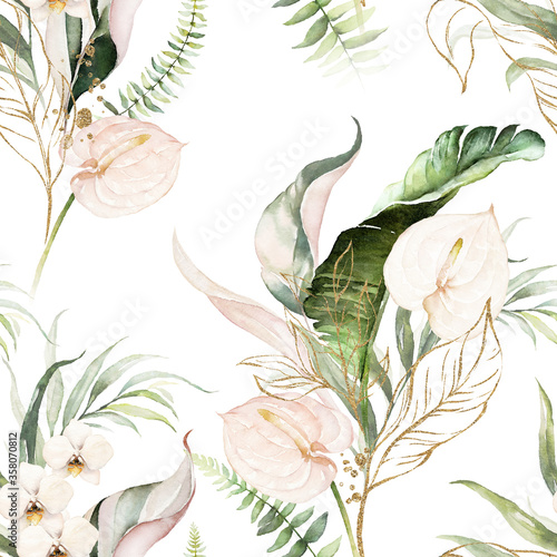 Green tropical leaves and blush flowers on white background Fototapete