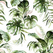 Green tropical leaves on white background. Watercolor hand painted seamless pattern. Floral tropic illustration. Jungle foliage.