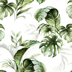 Fototapeta Malarstwo Green tropical leaves on white background. Watercolor hand painted seamless pattern. Floral tropic illustration. Jungle foliage.