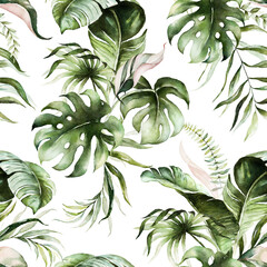 Panel Szklany Natura Green tropical leaves on white background. Watercolor hand painted seamless pattern. Floral tropic illustration. Jungle foliage.