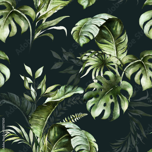 Tapeta czarna  green-tropical-leaves-on-dark-background-watercolor-hand-painted-seamless-pattern-floral-tropic-illustration-jungle-foliage