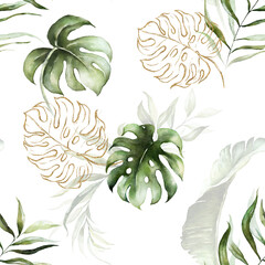 Fototapeta Natura Green and gold tropical leaves on white background. Watercolor hand painted seamless pattern. Floral tropic illustration. Jungle foliage.