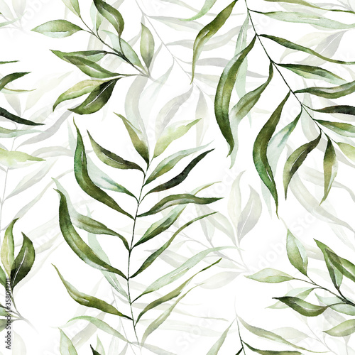 Obraz Green tropical leaves on white background. Watercolor hand painted seamless pattern. Floral tropic illustration. Jungle foliage. - fototapety do salonu