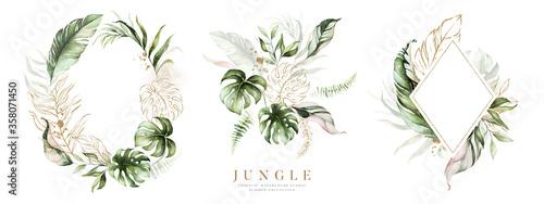 Foto Watercolor floral tropical set
