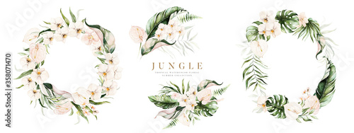 Obraz Watercolor floral tropical set. Frame, bouquets, wreath. Flower and green gold leaf branches bouquets collection, for wedding stationary, greetings, wallpapers, fashion, background. - fototapety do salonu