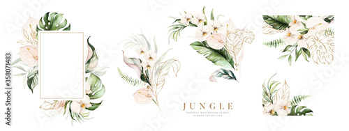Watercolor floral tropical set Canvas Print
