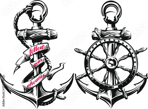 Anchor and ship wheel  vector illustration
