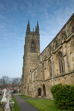 The South Side And South Tower Of Bridlington Priory, Bridlington, East Riding, Yorkshire, UK - March 2014