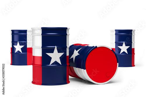 Obraz na plátne Texas oil barrels isolated on white background. 3d illustration
