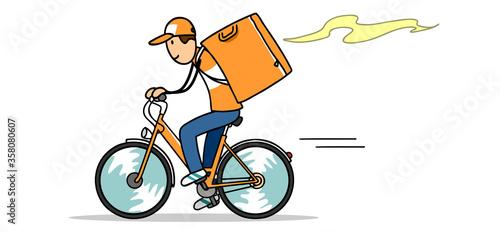 Fahrrad Kurier als Lieferant vom Food Lieferservice