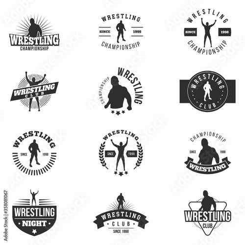 Obraz na plátně Wrestling badges set