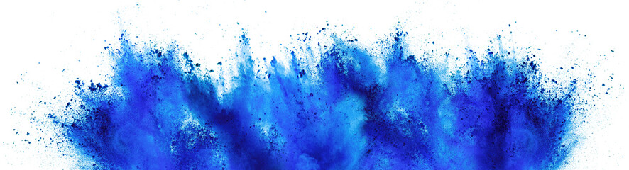 blue cyan holi paint color powder festival explosion isolated white background. industrial print concept background
