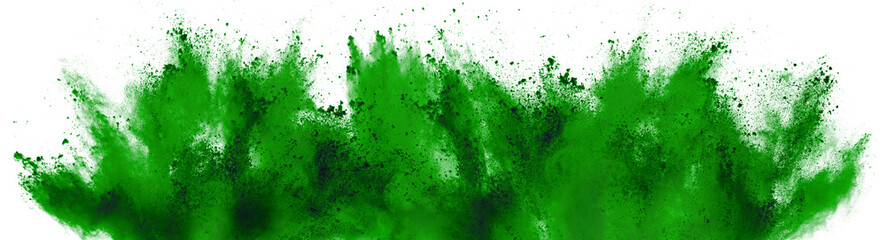 bright green holi paint color powder festival explosion isolated white background. industrial print concept background