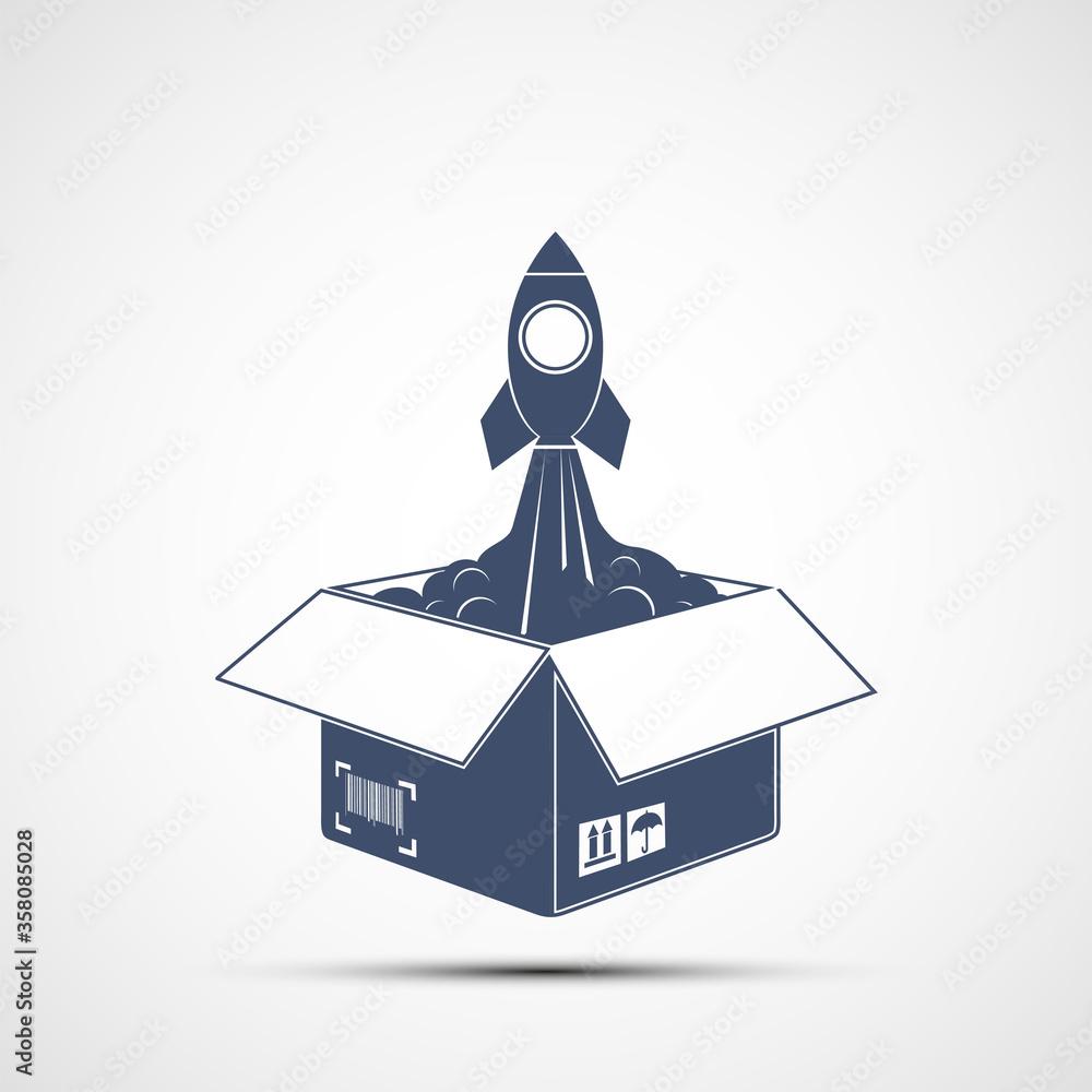 Fototapeta Rocket takes off from an open cardboard box