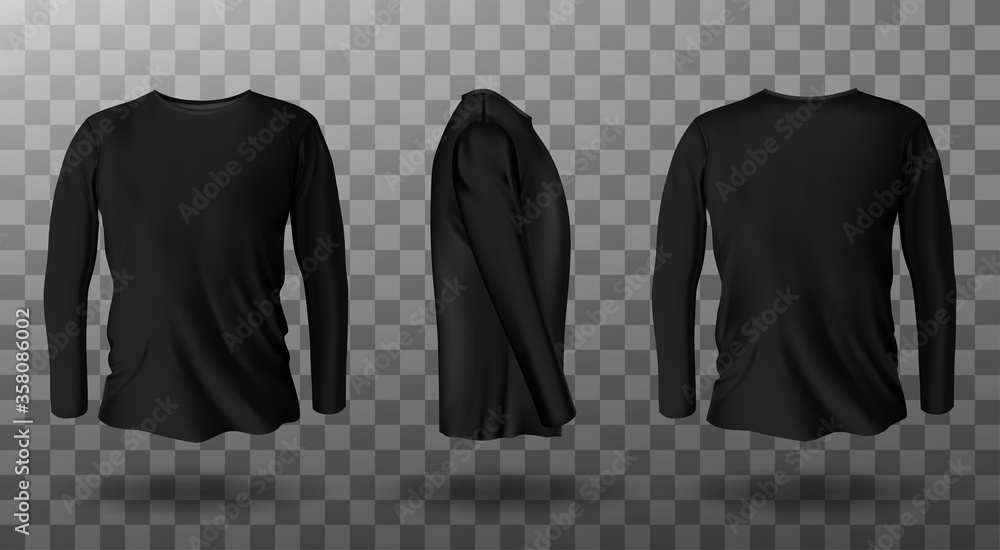Fototapeta Long sleeve t-shirt for man front, side and back view. Vector realistic mockup of male black tee, sweater, sport or casual apparel with round neck isolated on transparent background