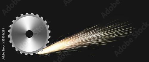 Fotografija Rotating circular saw blade with fire sparks
