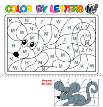 ABC Coloring Book For Children. Color By Letters. Learning The Capital Letters Of The Alphabet. Puzzle For Children. Letter M. Mouse