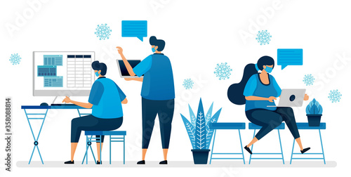 Fototapeta Vector illustration of back to office during the covid-19 pandemic by wearing a mask. Working protocol in new normal. Design can be used for landing page, website, mobile app, poster, flyers, banner obraz