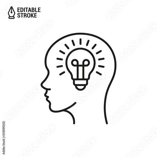 Fototapeta Head with lightbulb icon