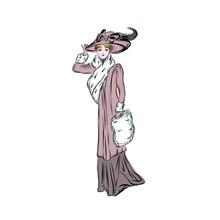 Vintage Woman In Elegance Style. Vector Clip Art. Illustration For Vintage Postcard Or Poster