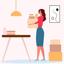 Lovely Cartoon Woman In The Office Carries Boxes. Flat Vector Illustration. Business Girl Is Engaged In Sales. Home Office Concept. Home Delivery. Beauty And Business Portrait For Various Purposes.