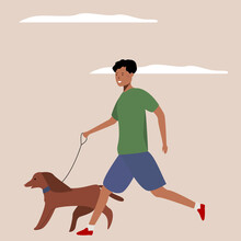 Cartoon Black Man With A Dog Walking On A Natural Background. Flat Vector Illustration. Happy Together. Caring For Animals. The Concept Of Care And Protection Of Animals. Poster For Various Purposes.