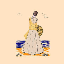 Woman In Dress And Hat Stands By The Sea, Vector Clip Art. Illustration For Vintage Postcard Or Poster