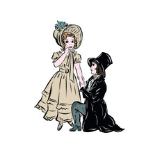 Girl And Boy In Vintage Style ...