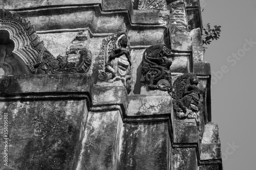 Old stone sculptures in buddhist temple Canvas