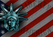 Statue Of Liberty On American Flag Background. Independence Day, Memorial Day. Vector Illustration.