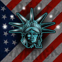 Statue Of Liberty On American Flag Background.Independence Day, Memorial Day