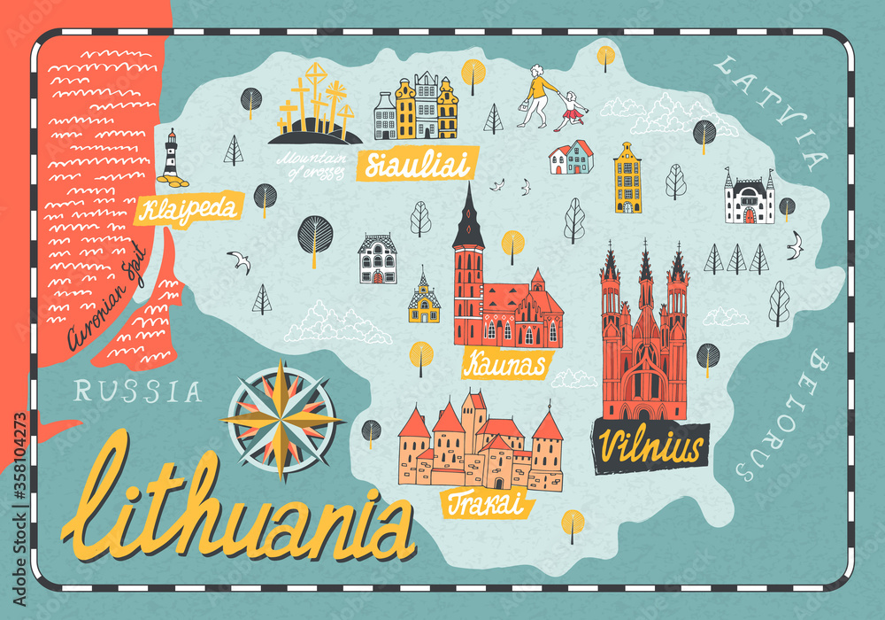 Fototapeta Cartoon map of Lithuania. Travel and attractions of Eastern Europe
