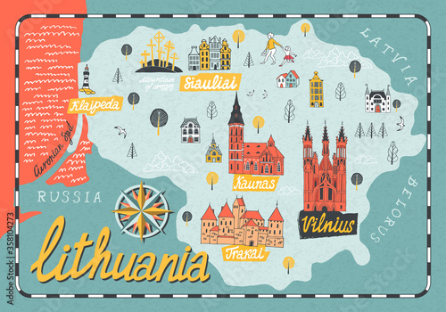 Fototapeta Cartoon map of Lithuania. Travel and attractions of Eastern Europe obraz