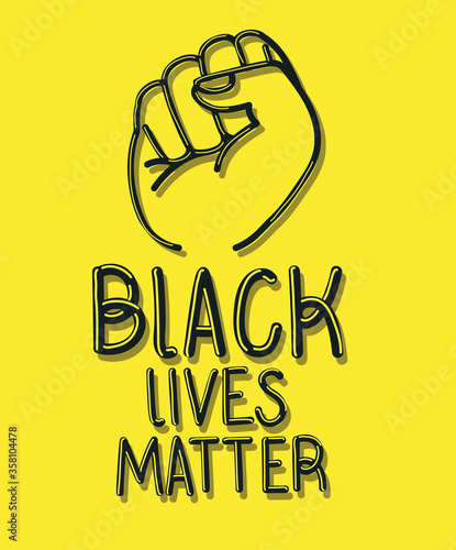 Valokuvatapetti Black lives matter with fist design of Protest justice and racism theme Vector i