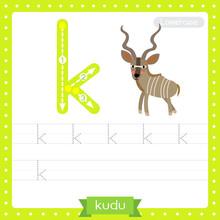 Letter K Lowercase Tracing Practice Worksheet Of Kudu