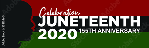 Fototapeta Celebration Juneteenth 2020. 155th Anniversary. Design of Banner and Flag. Vector logo Illustration. obraz