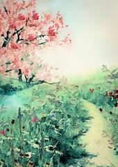 Panel Szklany Podświetlane Do pokoju Meadow. Watercolor background, design element