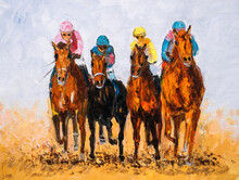 Oil Painting - Horse Racing