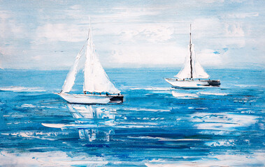 Fototapeta Do sypialni Oil Painting - Sailing Boat