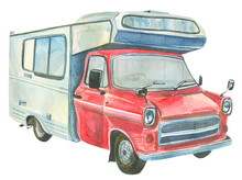 Retro Parking Trailer.Watercolor Illustration Of A Vintage Motorhome Designed For Camping, Traveling.It's Good For T-shirts, Souvenir And Children's Product, Postcard