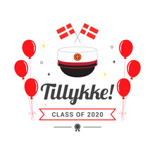 "Tillykke! (Danish Translation; "" Congratulations! "") Graduation Card Vector Illustration. Danish Graduation Cap With Balloons"