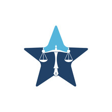 Law Logo Vector With Judicial Balance Symbolic Of Justice Scale In A Pen Nib. Logo Vector For Law, Court, Justice Services And Firms.